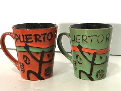 Puerto Rico Ceramic Coqui Taino Coffee Mugs Cups 16oz Fine Souvenirs 4 Colors