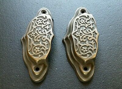 """2 brass Ornate Apothecary cabinet drawer bin cup pull Handles 3 9/16"""" #A4 4"""