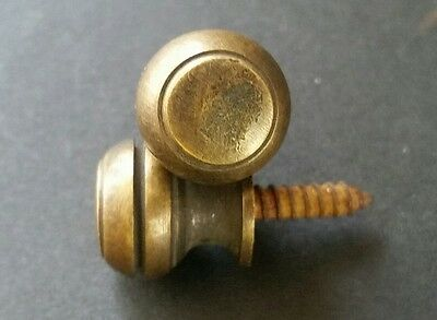 """2 Solid Brass SMALL Stacking Barrister Bookcase 7/16""""dia Knobs drawer Pulls #KK 8"""