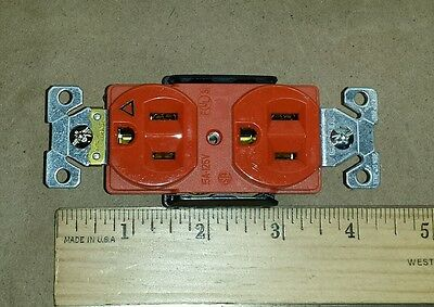 Lot Of 10 Cooper Ig5262rn Orange Duplex Receptacle Isolated 5 15r