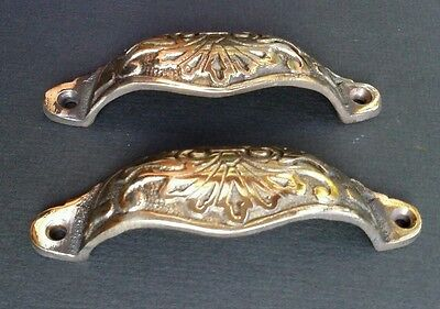 "2 Apothecary Drawer Pull Handles ""POLISHED"" 4 1/8"" Antique Victorian Style #A1"