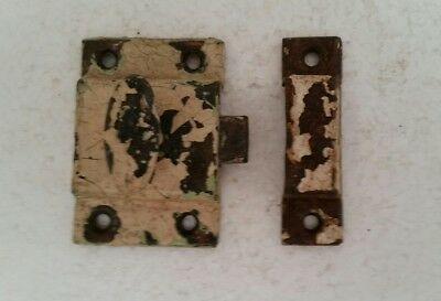 Vintage Old Painted Metal Cabinet Cupboard Latch W/ Catch Shabby Chippy  (135H)