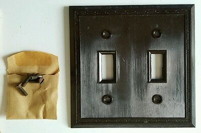 4 Vtg Bakelite Toggle Switch Plate Two Gang Standard Electric NOS 1802 Art Deco 2