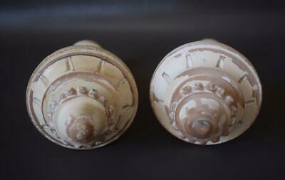 French Gustavian Architectural Pair Curtain Rod White Painted Wood Finial Post 5