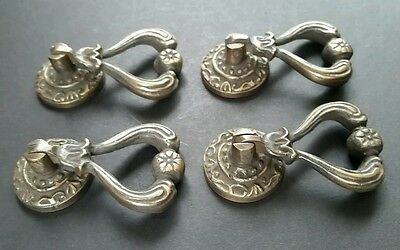 "4 Ornate Brass Antique Style Handles Pulls Knob w Detailed Drop Ring 2 1/4"" #H11 4"