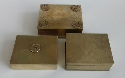 3 Antique Chinese Brass Hand Engraved Cigarette Box. Symbols. 2