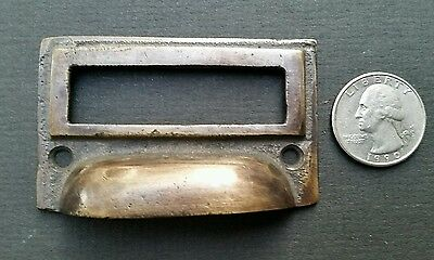 "4 tarnished brass File Apothecary drawer pull Handles 2 3/4"" Label holders #F1 6"