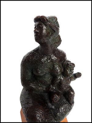 Jaim Bruto Original Bronce Escultura Sentado Madre Niño Firmado Moderno Obra 3