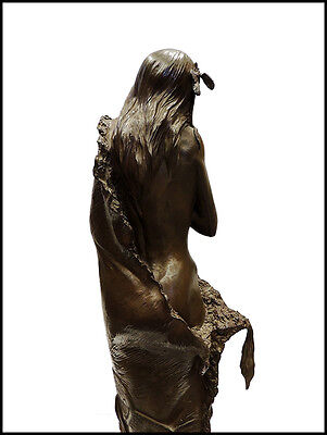 Ken Ottinger Frontera Cautivo Bronce Escultura Firmado Nativo Americano Femenino 3