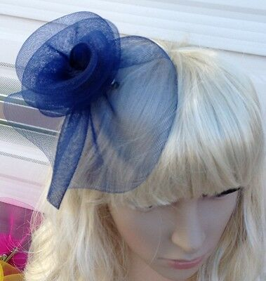 navy blue fascinator millinery feather brooch clip wedding hat bridal ascot race 3