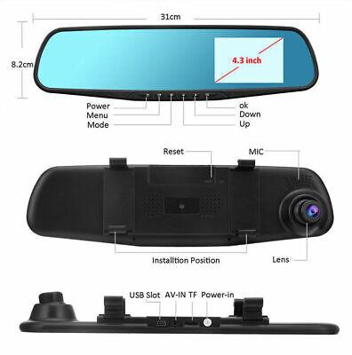4.3'' HD Dual Lens Car DVR Dash Cam Front and Rear Mirror Camera Video Recorder 2