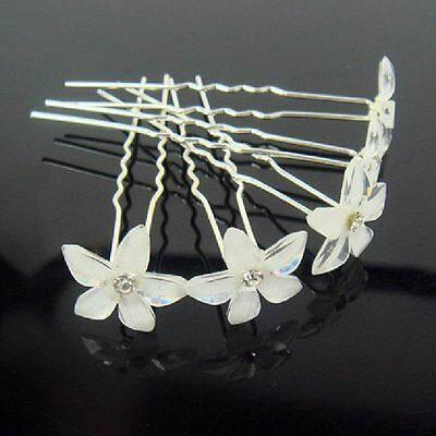 Braut-accessoires Set 10 Haarnadeln Lilie Weiss Hochzeit Braut Haarschmuck Blume Strass Tiara Weiß