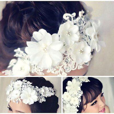 Tiara Diadem WEISSE Blumen Spitze Perlen Strass Haarschmuck Braut Kopfschmuck