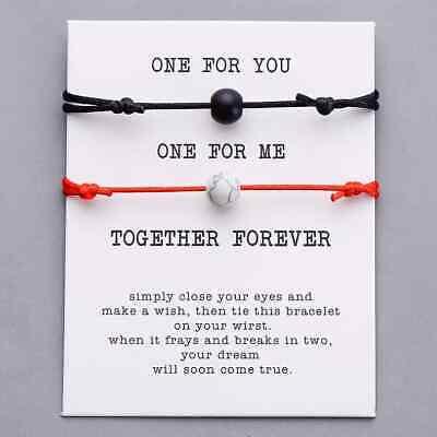 2 pcs Pierre Lave Naturelle Perle Bracelet Rouge Tressage Couple Amour Bijoux 4