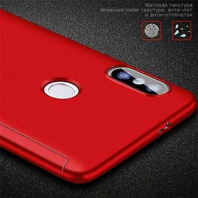 For Xiaomi Redmi 7 7A 6A Note 8 7 6 5 Pro 360° Full Cover Case + Tempered Glass 5