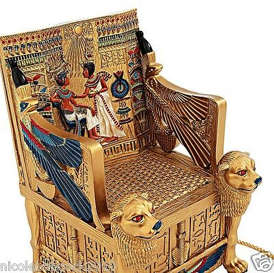 Ancient Egyptian King Tuts Golden Throne W/ Hidden Treasure Box Inside Decor 4