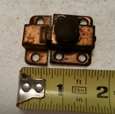 Vintage copper flashed cabinet cupboard latch with catch  (#84H)