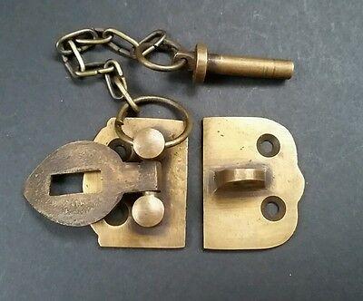 "Unique Vintage Style Cabinet Door Latch Solid Brass Hasp Lock Gate 1 3/4"" #X4 3"