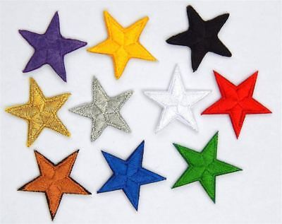 "Gold star patches > pack of 10 > embroidered > iron-on > 1"" (25mm) hand finished"