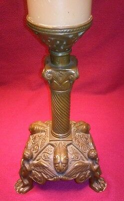 Antique Cherub playing a flute Heavy Bronze Candlestick