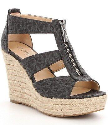 7262ce9d34c NEW MICHAEL KORS Damita Espadrille Wedge Sandal black platform Mini MK logo  zip