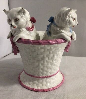 Antique Victorian Large Pair of Cats Kittens in a Basket Rare German Original 12