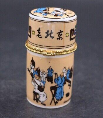 Decor Collect Handmade Porcelain Paint Peking Figure Noble Rare Toothpick Box 3