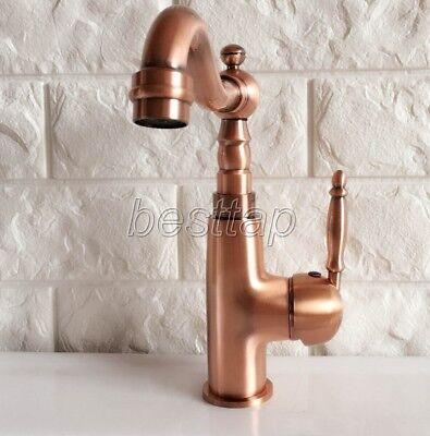 Antique Red Copper Bathroom Kitchen Bar Vessel Sink Swivel Faucet Tap snf410 5