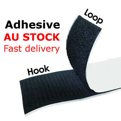 Self Adhesive HOOK and LOOP Fastener Tape Sticky Back Black or White Fastening 5