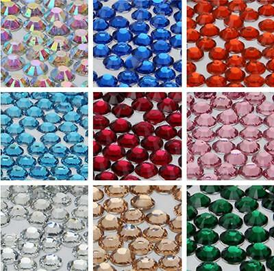 2000 Choose Colour Crystal Flat Back Nail Art Face Festival Rhinestones Gems 3