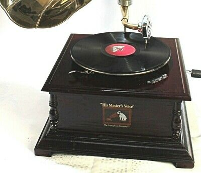 Replica Gramophone Player 78 rpm vinyl phonograph Brass Horn HMV Vintage Wind up 5