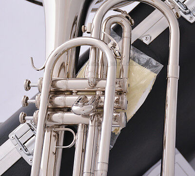 Professional JINBAO F Key Marching Mellophone Silver nickel Horn Hard Case