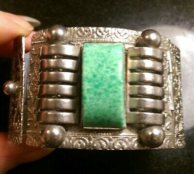 Art Deco Wide Machine Age Peking Glass And Metal Hinged Bracelet....repair 7