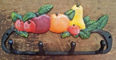 FRUIT 4 HOOK BATHROOM or KITCHEN Towel Hanger rustic farmhouse country cast iron 3
