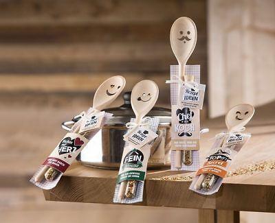 Gewürz Rezeptidee Geschenk Holz Kochlöffel Kochen mit Herz mit Gesicht
