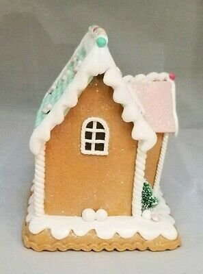 """Gingerbread House Green Brown Candy Snowman LED Light Up Clay-dough 6"""" Gerson 2"""