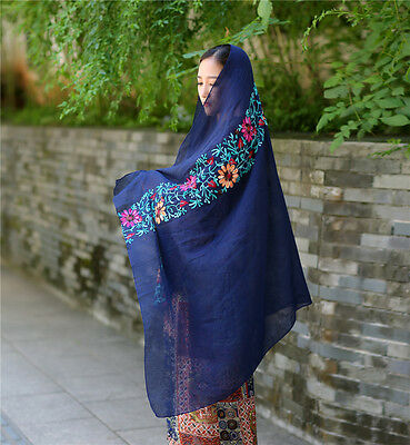 Women Large Embroidered Cotton Linen Floral Scarf Pashmina Wrap Shawl Scarves 6