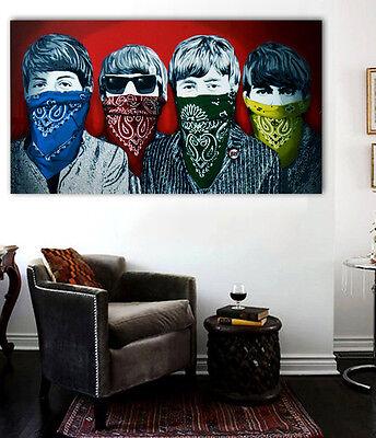 Banksy Beatles - Rare Red Version Street art Canvas 36 x 20 Giclee Print 2