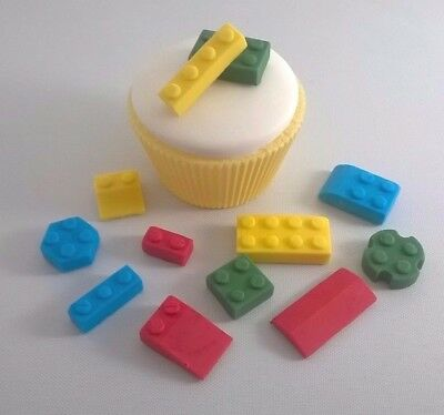 Surprising 32 Edible Sugarpaste Lego Bricks Cupcake Birthday Cake Toppers Funny Birthday Cards Online Overcheapnameinfo