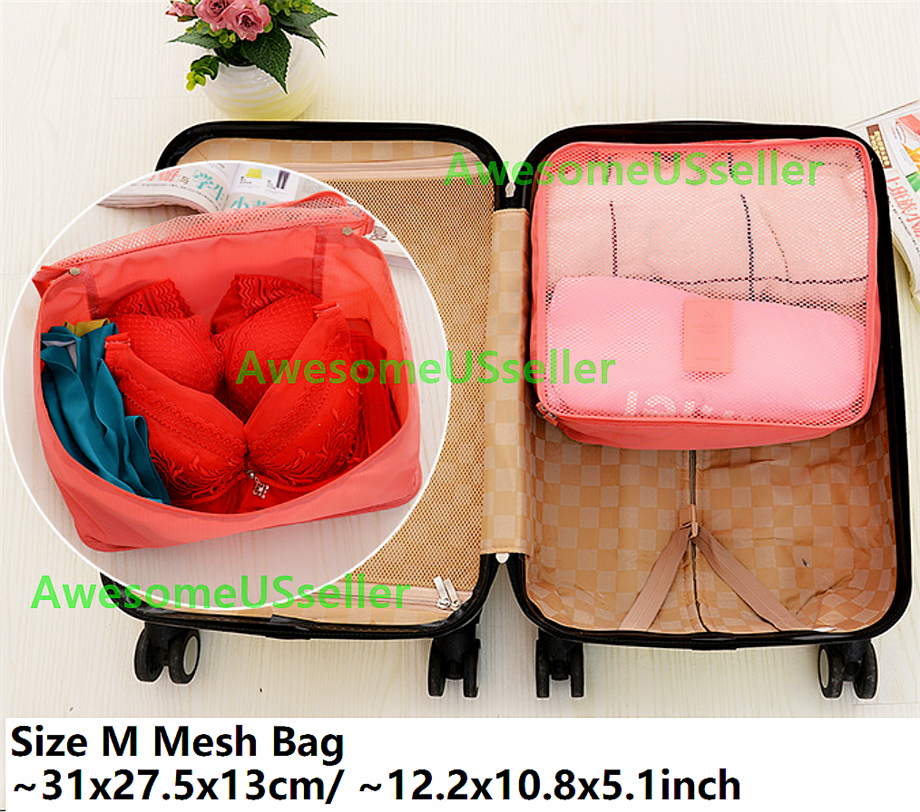 Bags 6PCS Waterproof Clothes Travel Storage Packing Cube Luggage Organizer Pouch 7