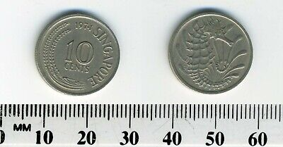 Singapore 1974 - 10 Cents Copper-Nickel Coin - Stylized Spotted Seahorse 3