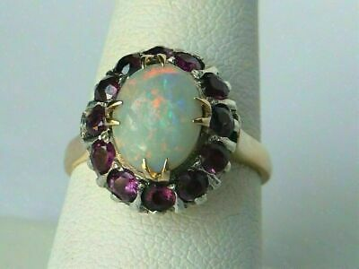 4Ct Oval Cut Fire Opal Ruby Round Engagement Halo Ring 14k Yellow Gold Finish