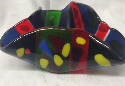 Seeman Stephanie Crimped Fused Glass Votive Holder Dk Blue Background Geometric