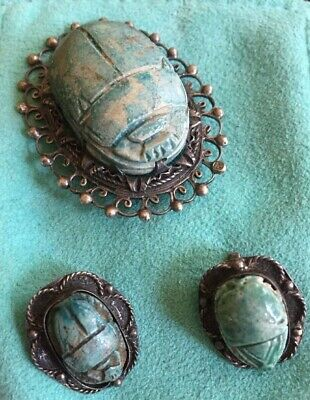 ANTIQUE EGYPTIAN Scarabs,  3pc, Sterling Setting, Rare, Hieroglyphics 5