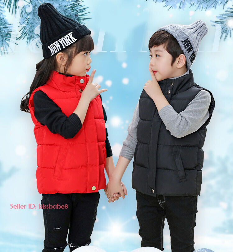 Kids Boys Girls Warm Cotton Down Vest Quilted Jacket Waistcoat Coats Snowsuits 2