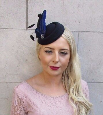 Black Royal Blue Feather Pillbox Hat Hair Fascinator Races Clip Wedding Vtg 4014 2