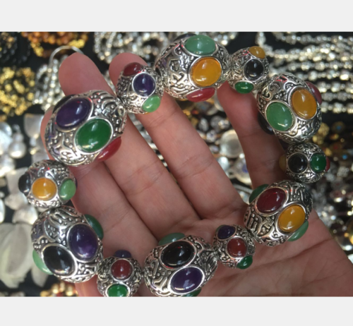 China's exquisite Tibetan silver hand-carved multicolored bracelet 2