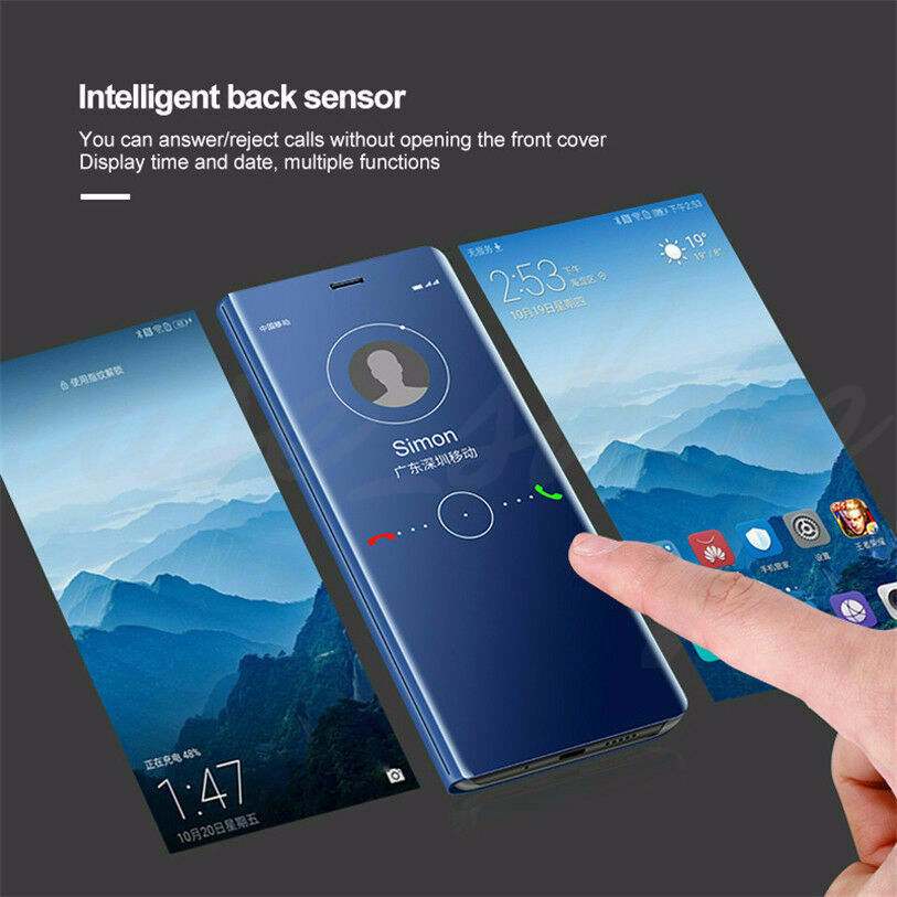 For Samsung J8 J7 J6 J5 J4 J3 Smart Leather Flip Clear View Mirror Case Cover 8