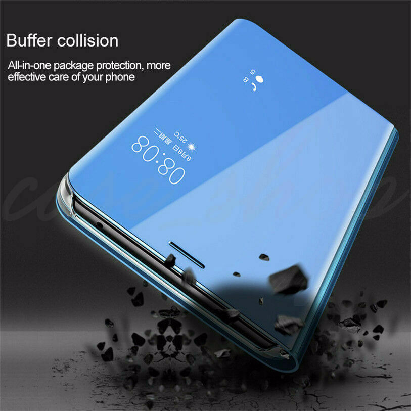For Samsung J8 J7 J6 J5 J4 J3 Smart Leather Flip Clear View Mirror Case Cover 7