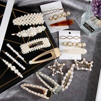 Pearl Acrylic Crystal Hair Clip Slide Hair Pin Barrette Bridal Hair Accessories 9